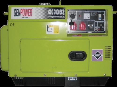 Genpower 7 kVA Dizel Portatif Kabinli Monofaze Jeneratör GBG7000EC (Sessiz)